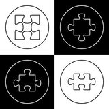 Puzzles outline icons on chess board. Concept Stock Photography