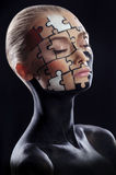 Puzzles painted on face. Puzzles painted on a beautiful woman's face Royalty Free Stock Photos
