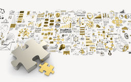 Puzzles partnership 3d and hand drawn business strategy Royalty Free Stock Images