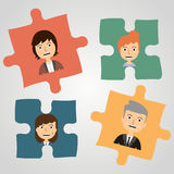 Puzzles with people. Concept communication. Stock Photo