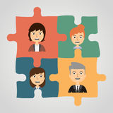 Puzzles with people. Concept communication. Stock Image