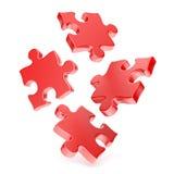 Puzzles rouges tombant à la terre 3D Images stock