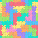 Puzzles seamless pattern with colored tetris shapes. Children`s background Royalty Free Stock Photos