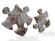 Puzzles from a stone. It is isolated on a white background Royalty Free Stock Images
