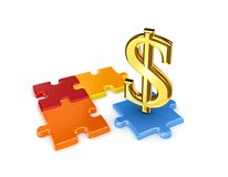 Puzzles and symbol of dollar. Royalty Free Stock Image