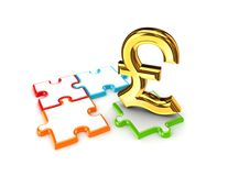 Puzzles and symbol of Pound Sterling. Royalty Free Stock Photos
