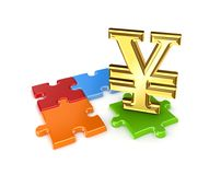 Puzzles and symbol of Yen. Stock Image