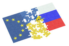 Puzzles of Ukraine, Russia and EU Stock Photos