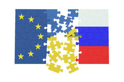 Puzzles of Ukraine, Russia and EU concept Royalty Free Stock Image