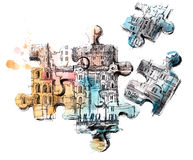 Puzzles. Vanishing architecture of the ancient city Stock Photography