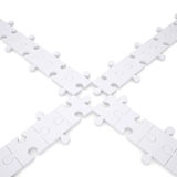 Puzzles are white. Isolated render on a white background Royalty Free Stock Photo