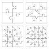 Puzzles. White puzzles 4, 9, 16 and 25 pieces royalty free illustration