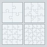 Puzzles. White puzzles 4, 9, 16 and 25 pieces vector illustration