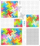 Puzzleschablonen, wunderlich geformte Stücke Stockbild