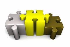 Puzzlespiel 3d bessert Sieger-Podium aus Stockfoto