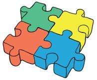 Puzzlespiel auf weißem Hintergrund - Abbildung Lizenzfreies Stockbild