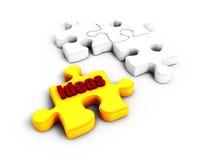 Puzzlespiel 3D auf dem weißen weißen Hintergrund Stockbild