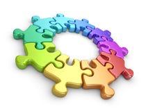 Puzzlespiel 3D. Teamarbeitskonzept.  Stockfoto