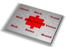 Puzzlespiel in der grauen Farbe mit Geschäftswort Lizenzfreies Stockfoto