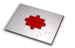 Puzzlespiel in der grauen Farbe mit Marketing-Worthöhepunkt Stockbild