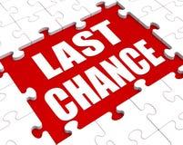 Puzzlespiel der letzten Gelegenheit zeigt abschließende Gelegenheit oder Tat jetzt stock abbildung