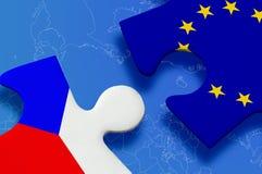 Puzzlespiel der Tschechische Republik-Europäischen Gemeinschaft Stockfoto