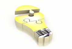 Puzzlespiel-Glühlampe Stockfotografie
