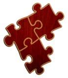 Puzzlespiel - hölzerne Version auf weißem Hintergrund Stockbild