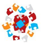 Puzzlespiel-Hauptsymbolisierungspsychologie Stockfotos