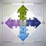 Puzzlespiel Infographics-Schablone Lizenzfreie Stockfotos