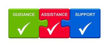 3 Puzzlespiel-Knöpfe, die Anleitungs-Unterstützungs-Unterstützung zeigen stock abbildung