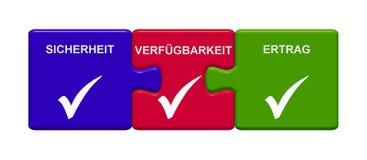 3 Puzzlespiel-Knöpfe, die Sicherheits-, Aveailability- und Einkommensdeutsches zeigen vektor abbildung