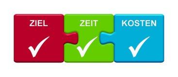 3 Puzzlespiel-Knöpfe, die Ziel-Zeit-Kostendeutsches zeigen lizenzfreie abbildung