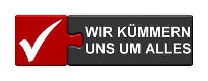 Puzzlespiel-Knopf: Wir kümmern uns um deutschem alles lizenzfreie abbildung