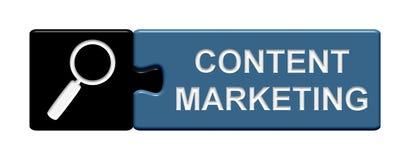Puzzlespiel-Knopf: Zufriedenes Marketing Stockbild