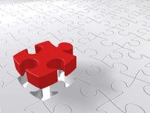 Puzzlespiel-letztes Stück, das unten, zackiges Konzept, weißer Hintergrund kommt stockfotografie