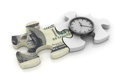 Puzzlespiel mit Dolar Bill und Uhr Lizenzfreie Stockfotografie
