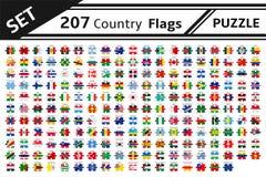 Puzzlespiel mit 207 Landesflaggen Stockbild