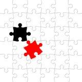 Puzzlespiel mit verlegtem Stück Stockbild