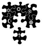 Puzzlespiel mit Zeichen der Religion vektor abbildung