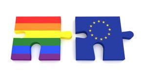 Puzzlespiel-Stück-homosexuelle Pride Rainbow Flag And EU-Flagge lizenzfreie abbildung