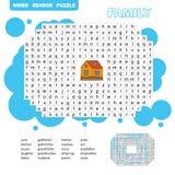 Puzzlespiel und F?rbungst?tigkeitsseite - Wortsuchpuzzlespiel - englisch lizenzfreie stockfotos