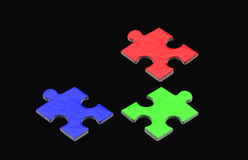 Puzzlespiel und Laubsäge Stockfotos