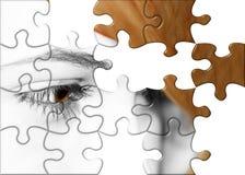 Puzzlespielauge Stockfoto