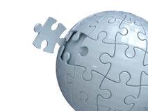 Puzzlespielball und letzte Stückinstallation herein Stockbild