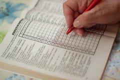 Puzzlespielbuch mit dem Wortruhestand Lizenzfreie Stockbilder