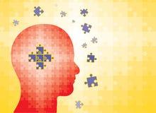Puzzlespiele im menschlichen Kopf - bemannen Sie das Finden der Lösung Stockfotografie