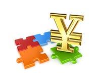 Puzzlespiele und Symbol von Yen. Stockbild