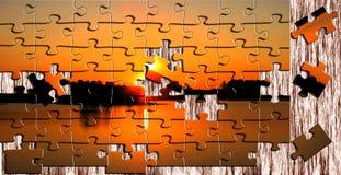 Puzzlespiele von der Abendlandschaft Lizenzfreie Stockbilder