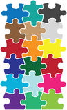 Puzzlespielfarbenstücke Stockbild